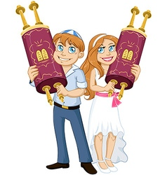 Jewish Boy And Girl Hold Torah For Bar Bat Mitzvah vector