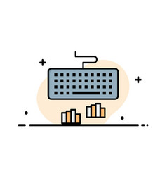 Keyboard interface type typing business flat line vector
