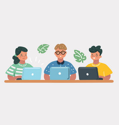 kids sitting at laptop vector image