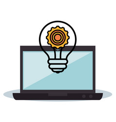 laptop and light bulb design vector image