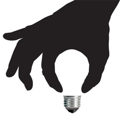 Light Bulb Idea Concept with Hand vector image