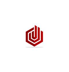 line shape geometry building business logo vector image