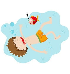 Little boy drowning under the water vector image