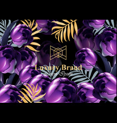 luxury card with purple tulip flowers vector image