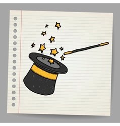 Magic hat with magic wand sketch vector image