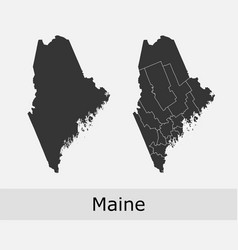 maine map counties outline vector image