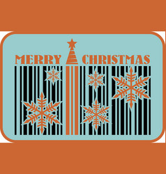 merry christmas barcode flyer vector image