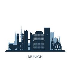 Munich skyline monochrome silhouette vector