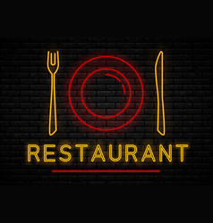 neon restaurant sign vector image
