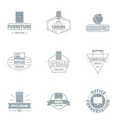 Office furniture logo set simple style vector