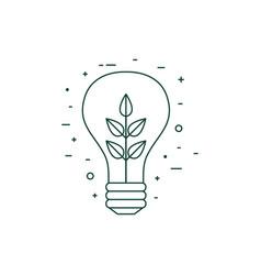 plant inside light bulb line art icon vector image