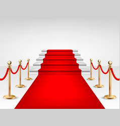 Realistic red event carpet gold barriers vector