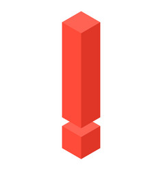 Red exclamation mark icon isometric style vector
