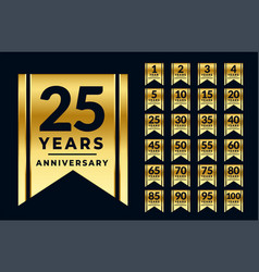 Ribbon style anniversary golden labels or emblems vector