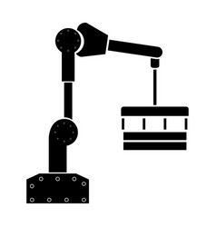 Robotic hand manipulator black color icon vector