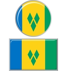 Saint Vincent and the Grenadines round square vector image