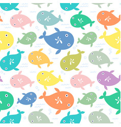 Seamless pattern whale vector