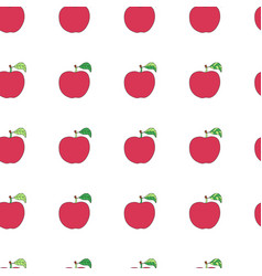 seamless pattern with cartoon red apples vector image