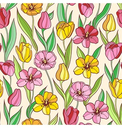 seamless pattern with red and yellow tulips vector image