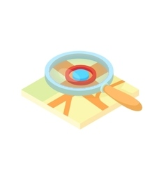 Search through a magnifying glass on map icon vector