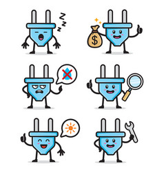 Set electric plug character design vector