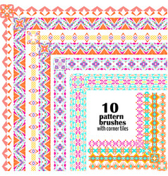 set of geometric borders in ethnic style vector image
