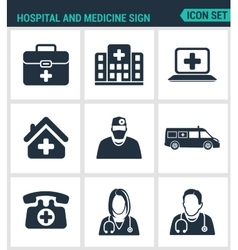Set of modern icons Hospital rescue vector image