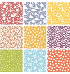 Set of nine cute elements seamless patterns vector