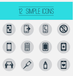 Set of simple mobile icons elements front camera vector