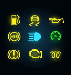set yellow and green light car dashboard panel vector image