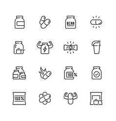 Sport supplements related icon set in thin line vector
