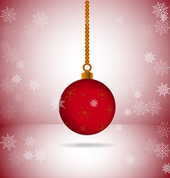 Square with red christmas ball with snowflakes vector image