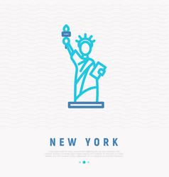 statue liberty thin line icon vector image