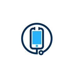 Stethoscope mobile logo icon design vector