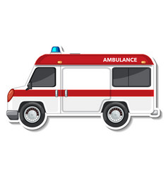 Sticker design with side view of ambulance car vector