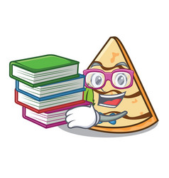 Student with book crepe mascot cartoon style vector