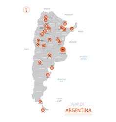 stylized argentina map showing big cities capital vector image
