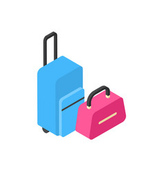 suitcases icon isometric baggage isolated travel vector image