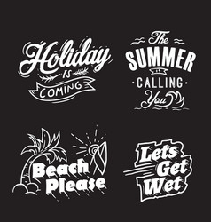 summer typography and holiday words vector image
