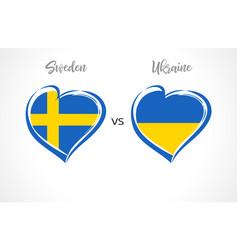 Sweden vs ukraine flag emblem vector