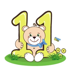 The number eleven and jolly bear vector