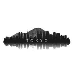 tokyo skyline silhouette in black with reflection vector image