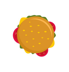 Top view cheeseburger icon flat style vector
