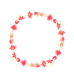 tropical flower circle wreath duotone style vector image