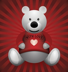 valentine day white teddy bear on wooden vector image