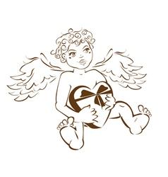Valentines angel Cupid vector image