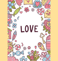 valentines day greeting card set with hearts gold vector image