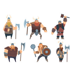 Viking characters medieval norwegian warriors vector