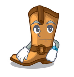 Waiting leather cowboy boots shape cartoon funny vector