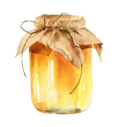 watercolor jar honey on white background vector image